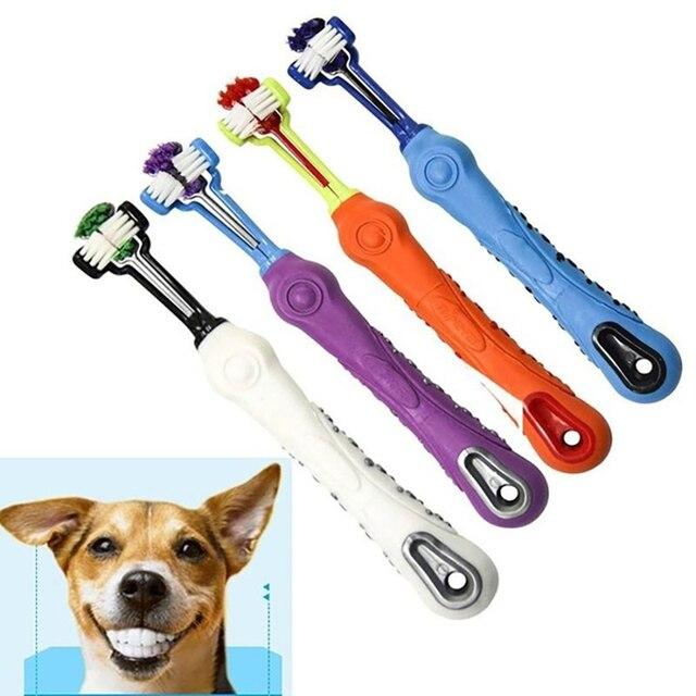 Зубная щетка для домашних животных для чистки зубов три головы зубная щетка для собак с нескользящей ручкой идеальный уход за зубами чистящие средства рот