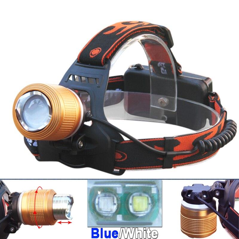 Azul blanco luz Led zoom faro xml t6 impermeable linterna 18650 linterna pesca cabeza de la lámpara linterna frontal
