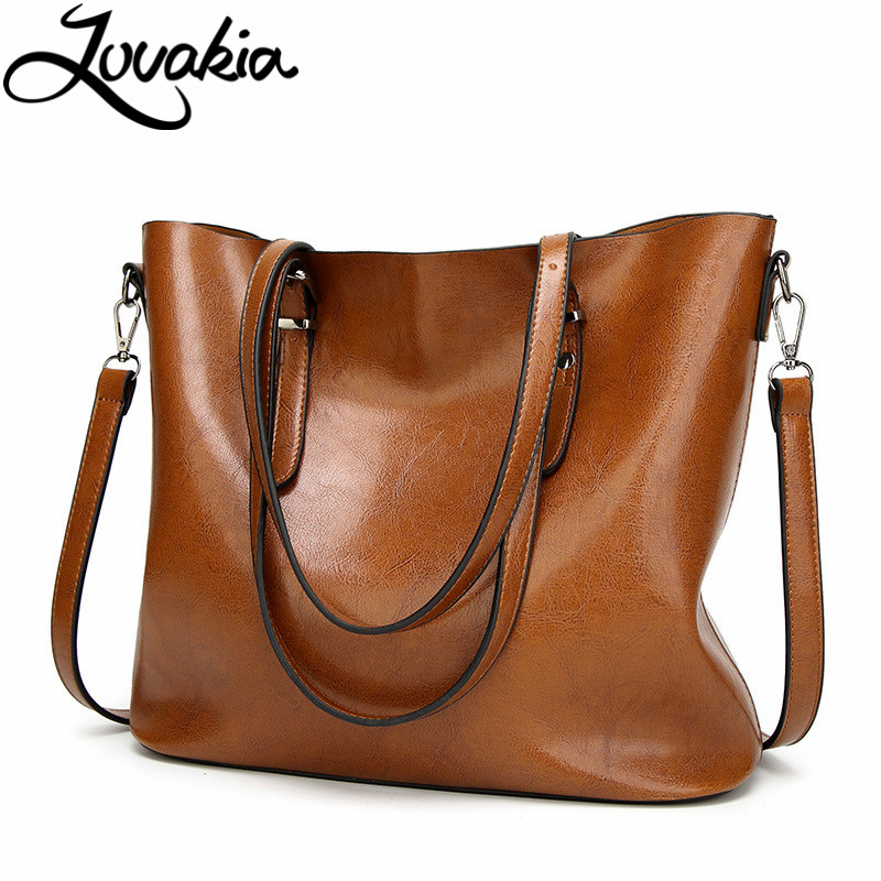 LOVAKIA Brand Women Leather Handbags Ladies Large Tote Bag Female Square Shoulder Bags Bolsas Femininas Sac A Main Brown Black women canvas bag ladies shoulder bags female patchwork handbags women original brands large capacity casual tote bags sac a main