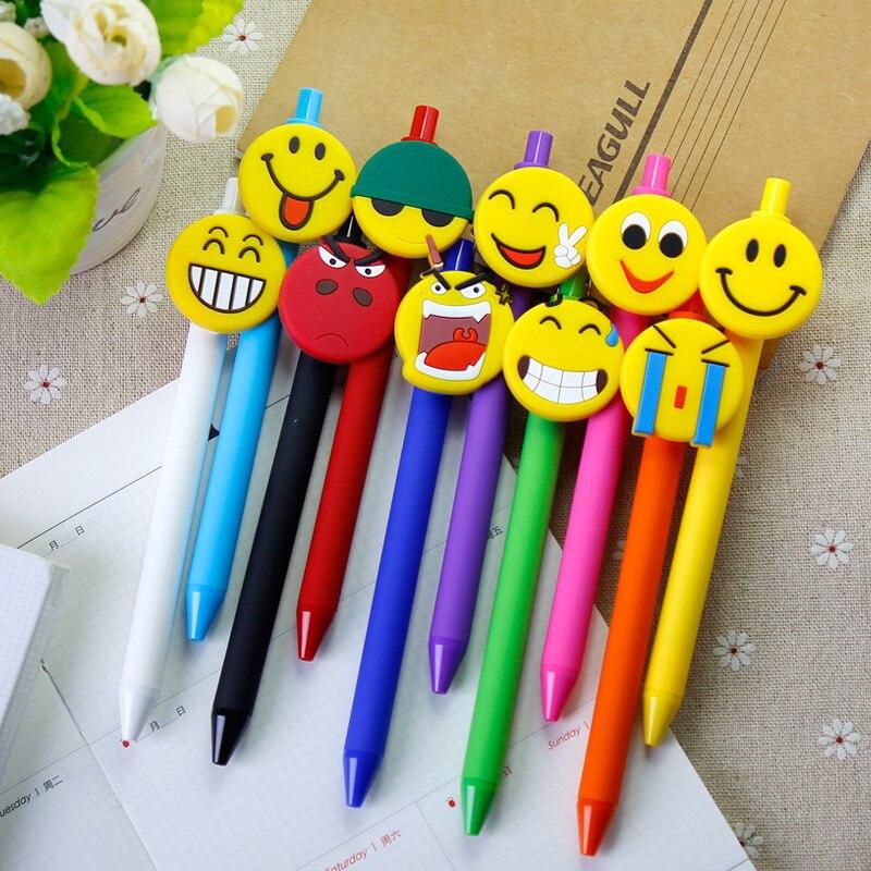 Ofis ve Okul Malzemeleri'ten Başlık Kalemleri'de 40 adet/grup yaratıcı şeker renk Gülen karikatür buzlu silika kalem basın kalem 0.5mm siyah mürekkep jel kalem öğrenciler hediye'da  Grup 1