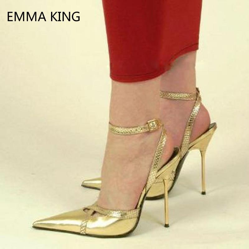 12CM Gold Super Stiletto Heels Shallow Metal Buckle Heels Large Size Patent Leather Shoes Women Pointed Toe Ladies Party Pumps12CM Gold Super Stiletto Heels Shallow Metal Buckle Heels Large Size Patent Leather Shoes Women Pointed Toe Ladies Party Pumps