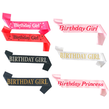 Birthday Girl 10th 18th 20th 30th 40th 50th Sash Glitter Satin Princess Ribbons Shoulder Strap Party Gifts