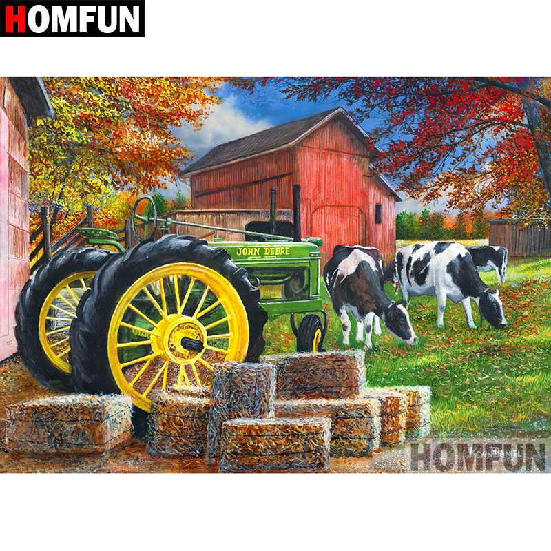 "HOMFUN 5D DIY Diamond Painting Full Square/Round Drill ""Tractor scenery"" Embroidery Cross Stitch gift Home Decor Gift A09181"