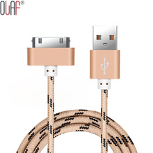 Original 30 pin Metal Plug Nylon Braided USB Cable Charging Cable for iPhone 4 4s 3GS iPad 2 3 Mobile Phone Fast Charger Cable