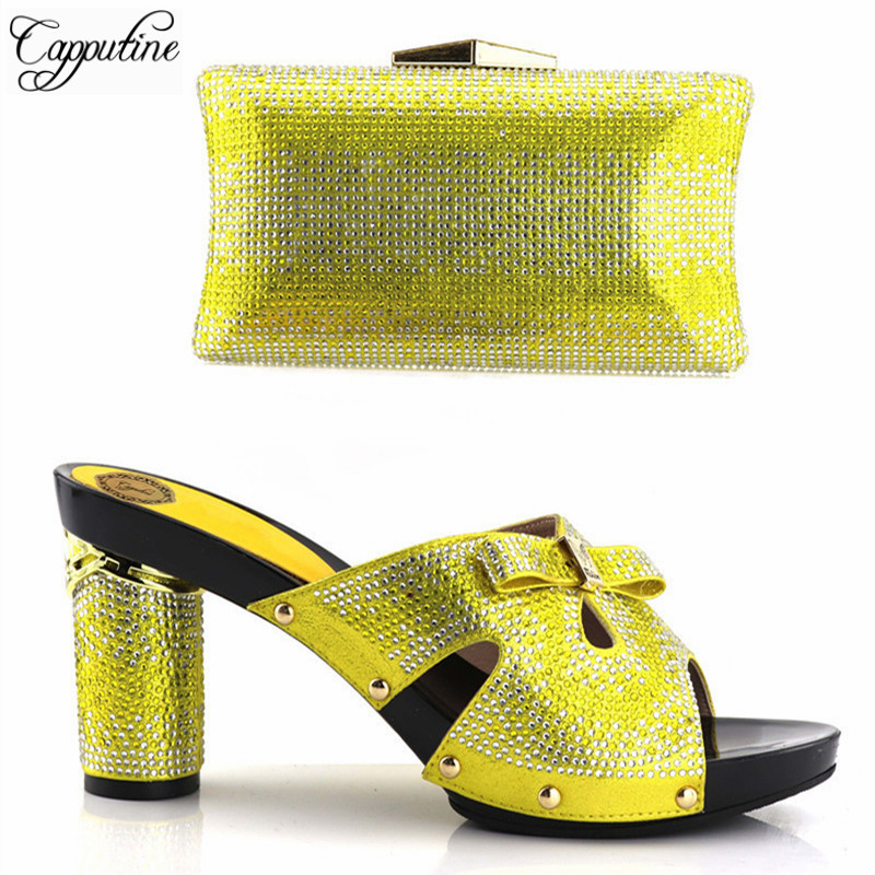 Capputine High Quality Rhinestone Ladies Shoes And Purse Set African High Heels Shoes And Bag Set For Party Size 37-43 On Sale capputine hot sale summer ladies shoes and bag set african style high heels shoes and bag set for wedding party tys17 91