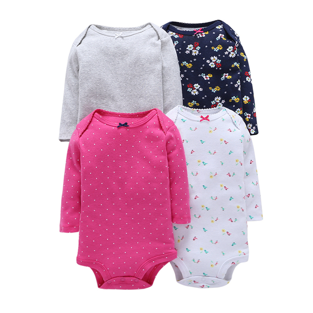 4Pcs/Lot Summer Baby Girl Bodysuits Set Rose Red Dot Long Sleeves Black Flowers Cotton Baby Bodysuits Baby Girl Clothes Sets V10