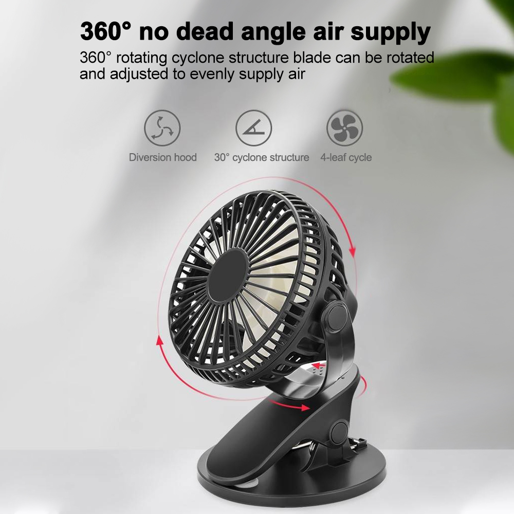 Air Cooler Portable Desktop USB Fan Mini Clamp Silent Fan 360/° Rotating,Air Fan Home ABS Electric Computer Table Fan Color : White