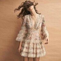 HIGH QUALITY Newest 2018 Designer Dress Women S 3 4 Sleeve Sexy Deep V Neck Charming