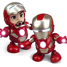 New Marvel Avengers Iron Man Dance Character Doll Model Sound and Light Edition Flashlight Music Robot Childrens Gift Toys