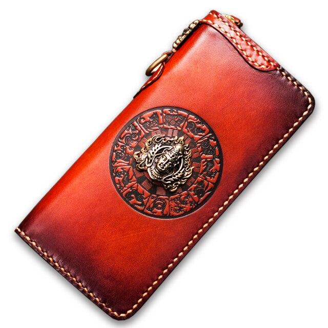 Handmade men wallets mystery Tibet three-dimensional sculpture Buddha decoration genuine leather genuine Leather clutch purse