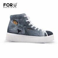 FORUDESIGNS Mujeres del Otoño Altos Zapatos Superiores Ocasionales 3D Lindo Gato Gris Perro Impresiones Mujer Aumento de la Altura Pisos Zapatos de Mujer Plataforma