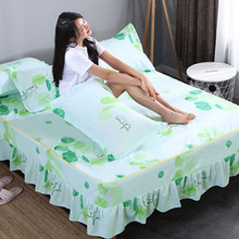 Green And White Stripe Cotton Single Double Bed Skirt Mattress Cover Petticoat Twin Full Queen Bed Skirts Bedspread bedding sets 10 two layers traditional firm high softness cotton mattress with 2 pillows twin size white