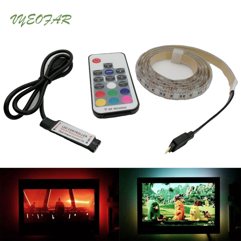 IP20 / IP65 1m 2m 3m 5m DC 5V RGB Flexible USB led rgb strip light 5050 SMD sting Ribbon Adhesive tape TV Background lighting
