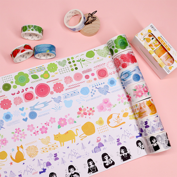 Mohamm Pink Time Series Set Kawaii Planner Handbook Decorative Paper Washi Masking Tape School Supplies Stationery