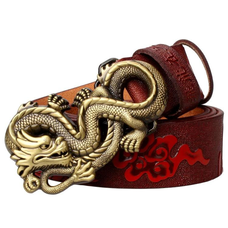 Fashion men genuine leather   belt   dragon buckle Article   belt   with dragon pattern Leisure personality   belt
