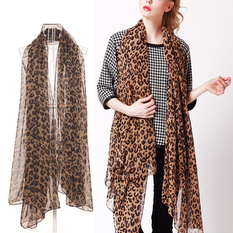 1 Pc Fashion Sexy Women Style  Long Leopard Soft Chiffon Shawl Wrap  Lady Chiffon Street Beat Scarf Wrap