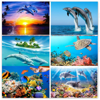 DIY Diamond painting full sea turtle Diamond Painting dolphins Diamond embroidery sea turtle Diamond painting Mosaic sea sale фото