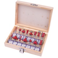 15pcs 1 4 Router Bit Set Kit Shank Tungsten Carbide Rotary Tool Wood Case Box