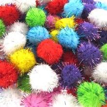 50 шт 3 см смешанные блестящие помпоны мягкие шарики декоративные