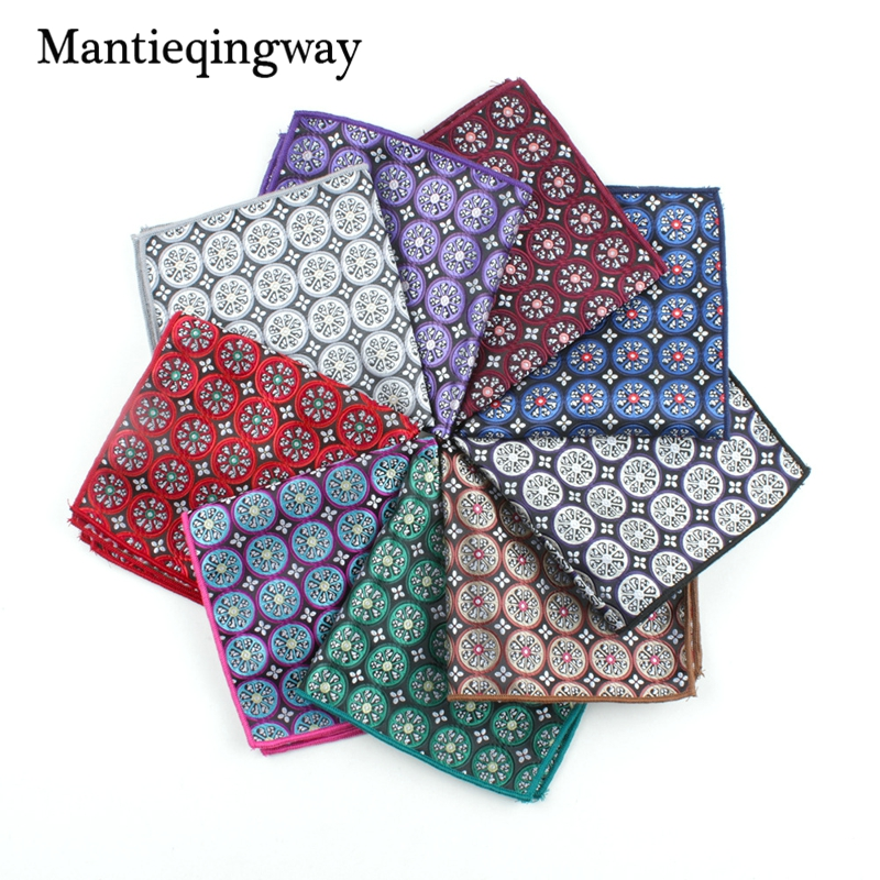 Mantieqingway Floral Printed Handkerchiefs Polyester Pocket Square For Men Classic Suits Striped Handkerchief For Wedding