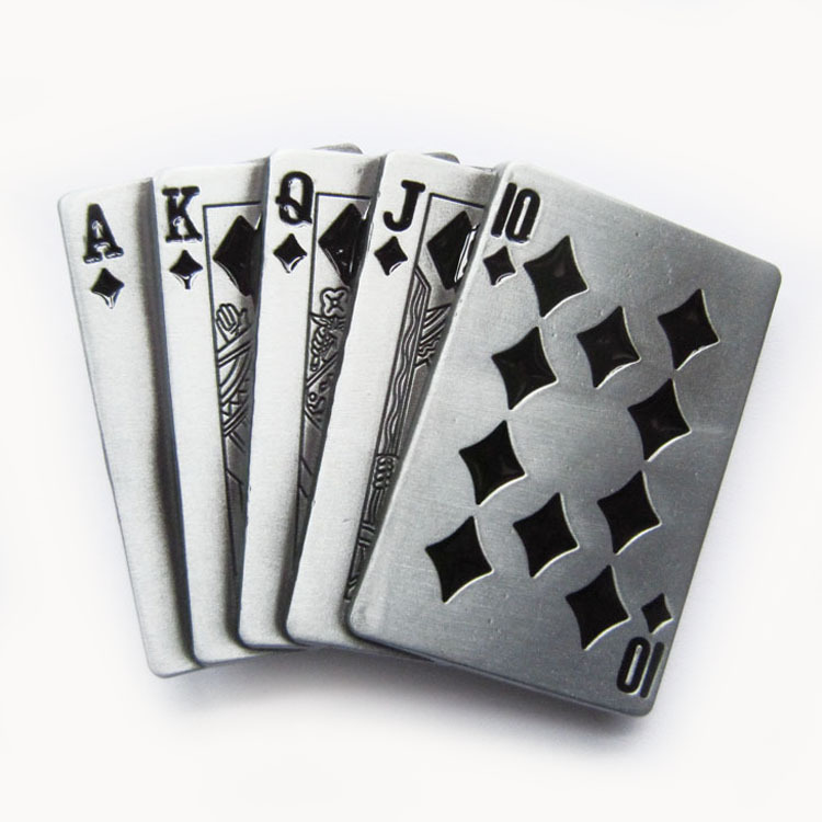 Retail Distribute Black Royal Flush Poker Cards Belt Buckle BUCKLE-CS012BK Free Shipping