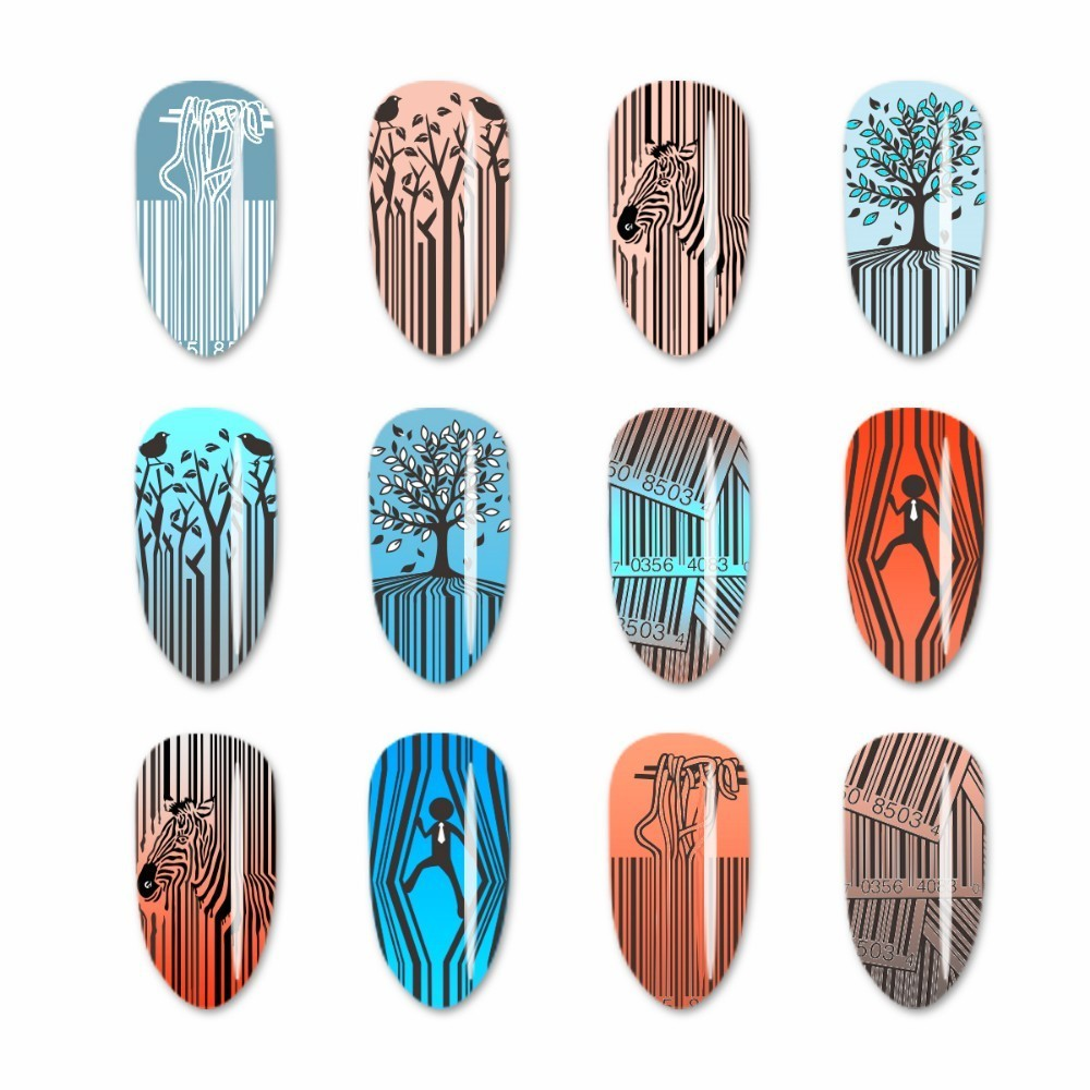 Image 4 - Beauty Big Bang Stamping Plate Bar Code Zebra Striped Funny Noodles Image for Nail Art Polish Stainless Steel Stamping Plates-in Nail Art Templates from Beauty & Health