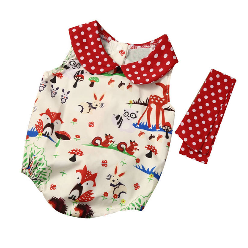 Newborn Woodlands Romper Playsuit Outfits Headband Baby-Girl Infant Fashion Summer Months
