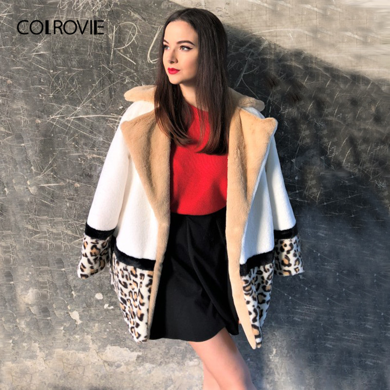 COLROVIE Cut And Sew Leopard Panel Streetwear Faux Fur Coat Casual Warm Winter Coats 2018 Women Coat Fashion Lady Outerwear