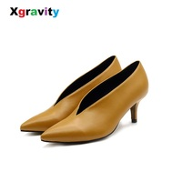 Xgravity Genuine Leather Pop Star Pointed Toe Thin Heel Woman Shoes Deep V Design Lady Fashion