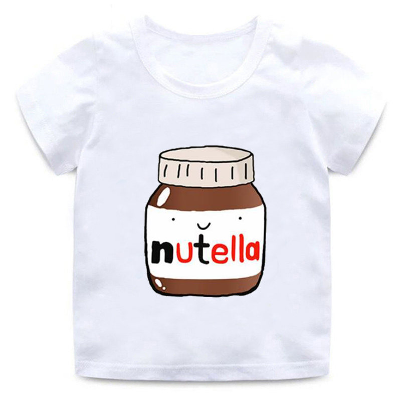 Summer T-shirt Nutella Print Cute White Tops Round Neck Cotton Soft Short Sleeve T-Shirt Fashion Kawaii Boys Girls T-Shirt