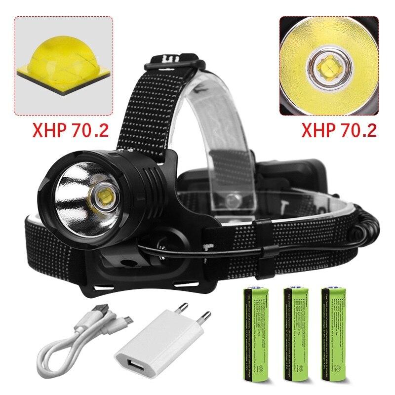 8000lm Powerful Head Lamp Torch Led Headlight XHP70.2 Headlamp Waterproof Zoom Light XHP70/XHP50 Flashlight Lamp 18650 8000mah