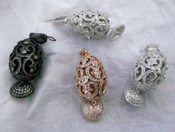 Livraison gratuite-connecteur de lien CZ Micro pavé de diamants fermoirs pavés résultats de bijoux boule d'oeuf ronde gunmetal bijoux mixtes pendentif foc