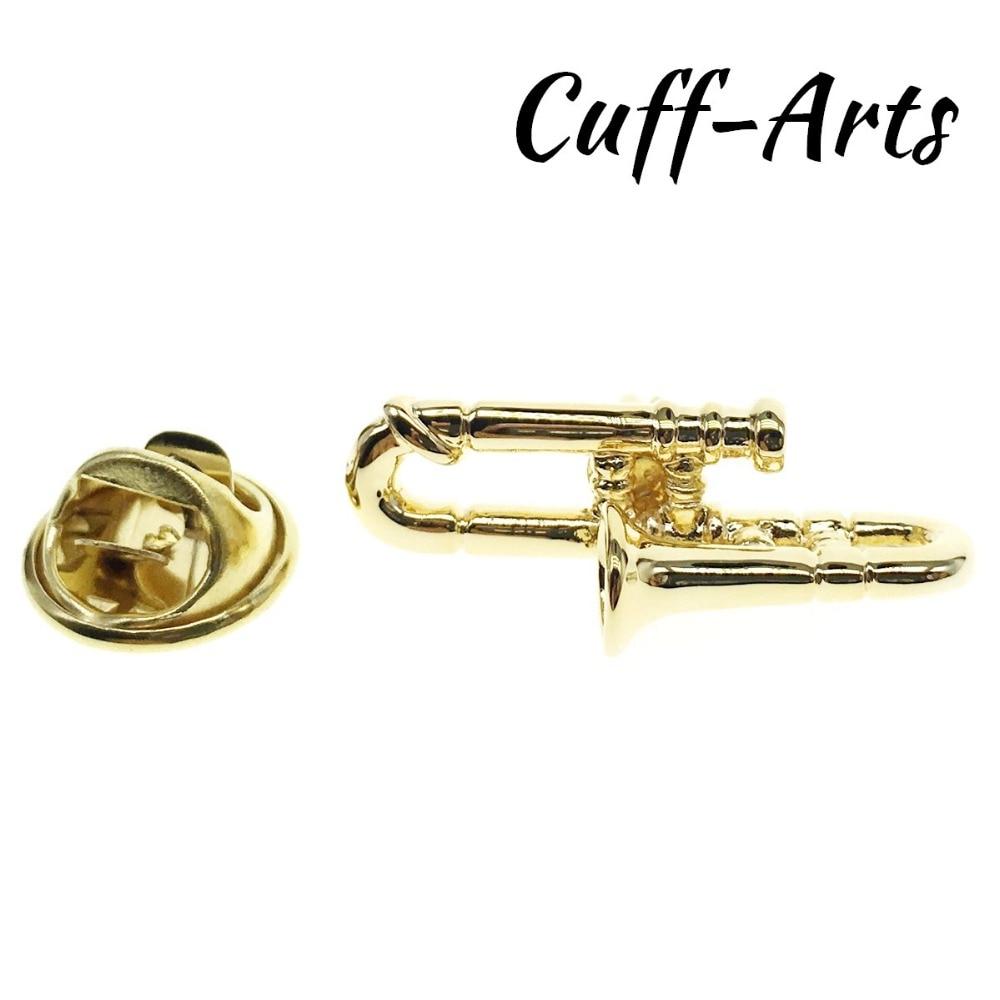 Cuffarts Lapel Pin For Men Music Badge Gold Trombone 2018 Jewelry Gift Fan P10073