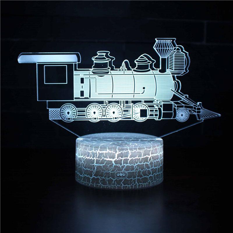 Magiclux Transporation Theme Table Lamp With ABS Base And Acryl Light Board 3D Locomotive Modle USB Bedroom Lamp For Christmas