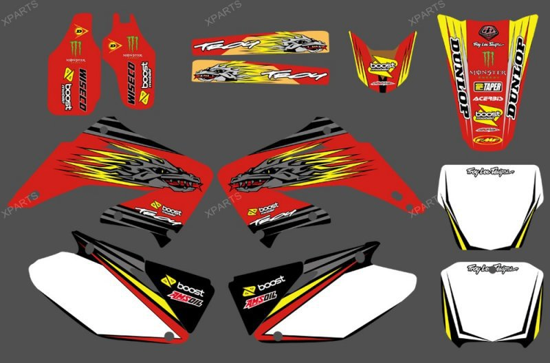 GRAPHICS & BACKGROUNDS DECALS STICKERS Kits for Honda CR125 CR250 2002 2003 2004 2005 06 07 08 09 10 11 2012 CR 125 250 цена