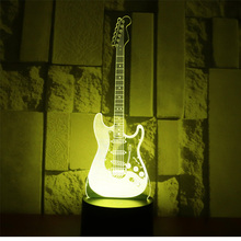3D LED Night Light Electric Guitar with 7 Colors Light for Home Decoration Lamp Amazing Visualization Optical Illusion Awesome