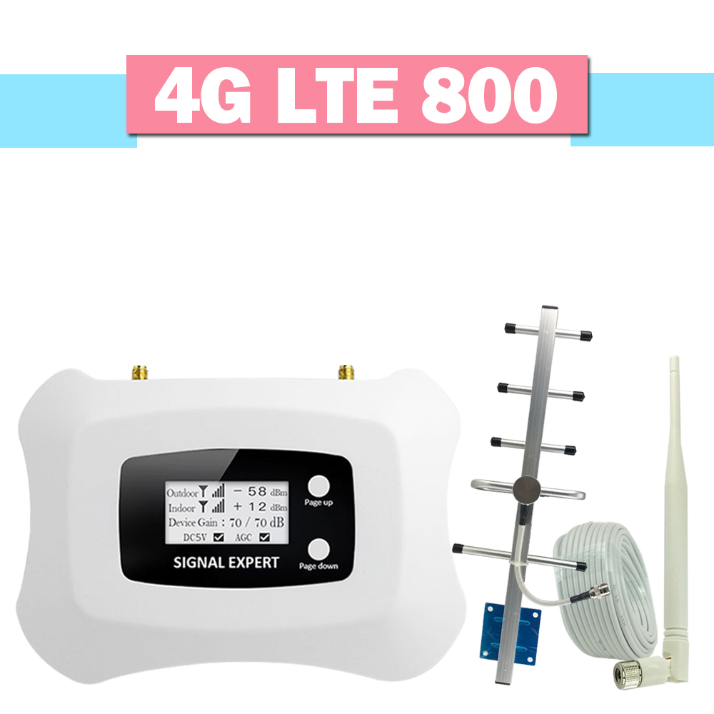 Repeatnet 4g LTE 800 Handy Signal Booster 70dB Gain 4g LTE 800 mhz Cellular Repeater LCD Display AGC 4g Verstärker Vollen Satz