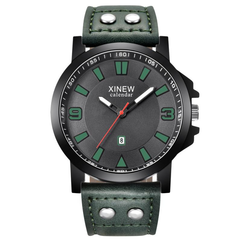 XINEW Men's Military Watches Sport Clock Luxury Leather Strap Analog Wrist Watch Mens Stainless Steel Case Quartz Watch #121 xinew fashion mens black stainless steel round dial date quartz analog sport wrist watch silicone band army military watch reloj