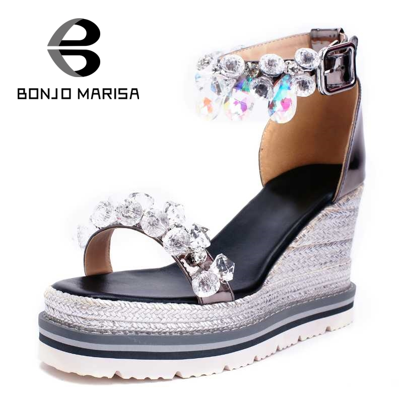 BONJOMARISA Rhinestone Flower Women Sandals Sexy Ankle Strap High Heel Wedge Open Toe Platform Shoes Summer Woman Footwear ankle strap wedge heel shoes for women comfort open toe shoes girls sandals 2016 new summer