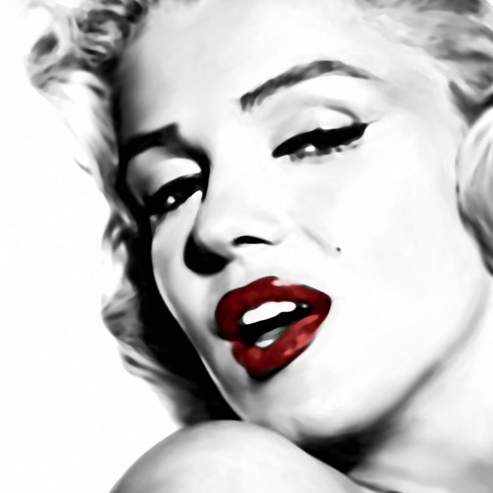 Printed sexy marilyn monroe black white red oil painting for Portent of item protection