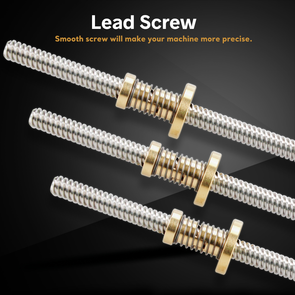 Anti-Backlash Nut + 200mm 300mm 400mm 500mm T-type Fuso Trapezoidal T8 Lead Screw 8MM Thread 8mm For 3D Printer & CNC