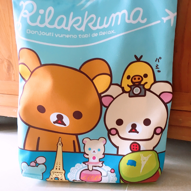 2018 Promotion Real Rilakkuma Canvas Tote Bag Casual Beach Handbag Eco Shopping Daily Use Foldable Shoulder For Women Female Shopping Bags Functional Bags