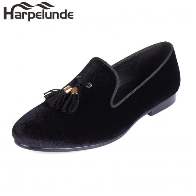 Harpelunde Men Dress Wedding Shoes Tassels Black Velvet Flat Loafers