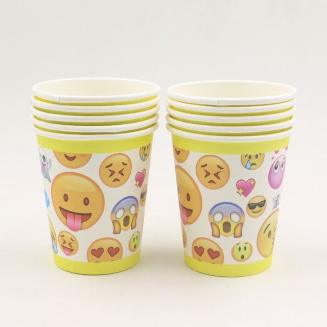10pcs Lot Emoji Cartoon Movie Theme Drinking Glasses Birthday Decorations Disposable Paper Cups Supplies Kis Favors