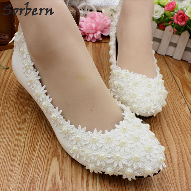 Sorbern Luxurious Flowers Beaded Wedding Shoes 3Cm Small Cute Kitten Heel  Comfortable Bridal Shoes Ladies Pumps Beading 8d890f43abaf