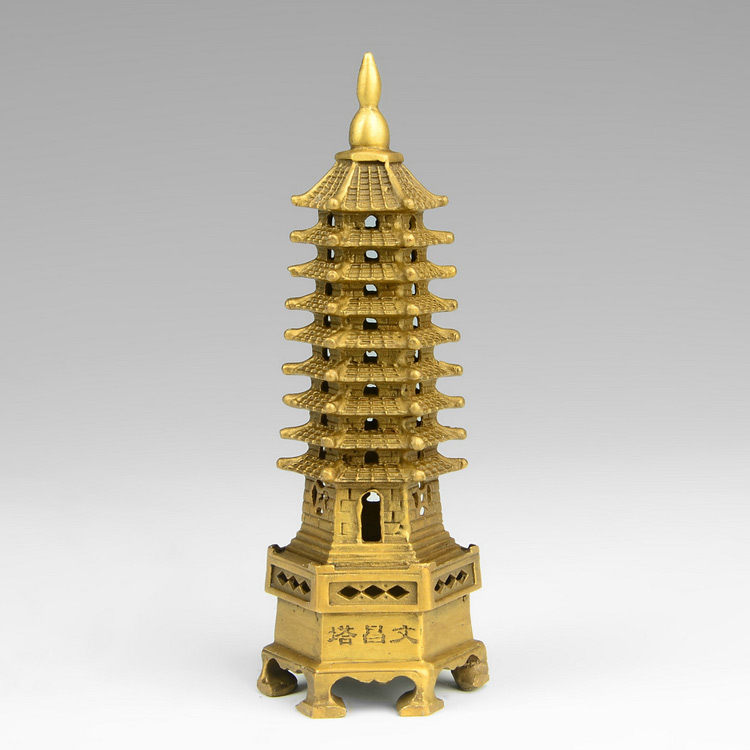 chinese tibet buddhism temple brass Wenchang Tower chedi stupa Pagoda statue decoration metal handicraft