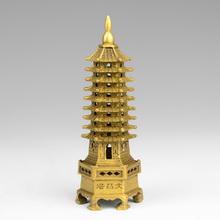chinese tibet buddhism temple brass Wenchang Tower chedi stupa Pagoda statue home decoration metal handicraft