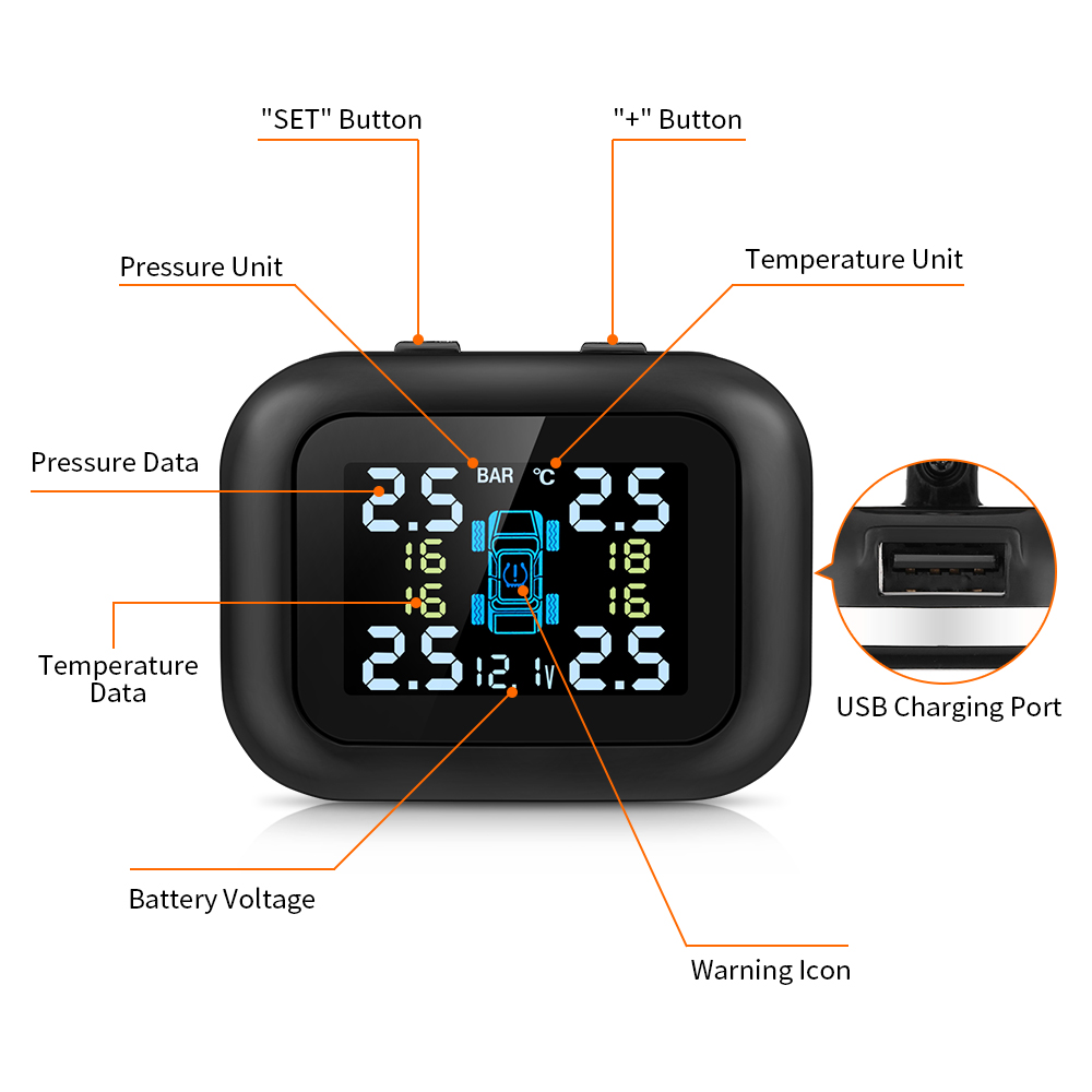 Car TPMS Cigarette Lighter Plug USB 60Degree Rotation Tire Pressure Monitoring System 4External Sensors PSI BAR Realtime Protect in Tire Pressure Alarm from Automobiles Motorcycles