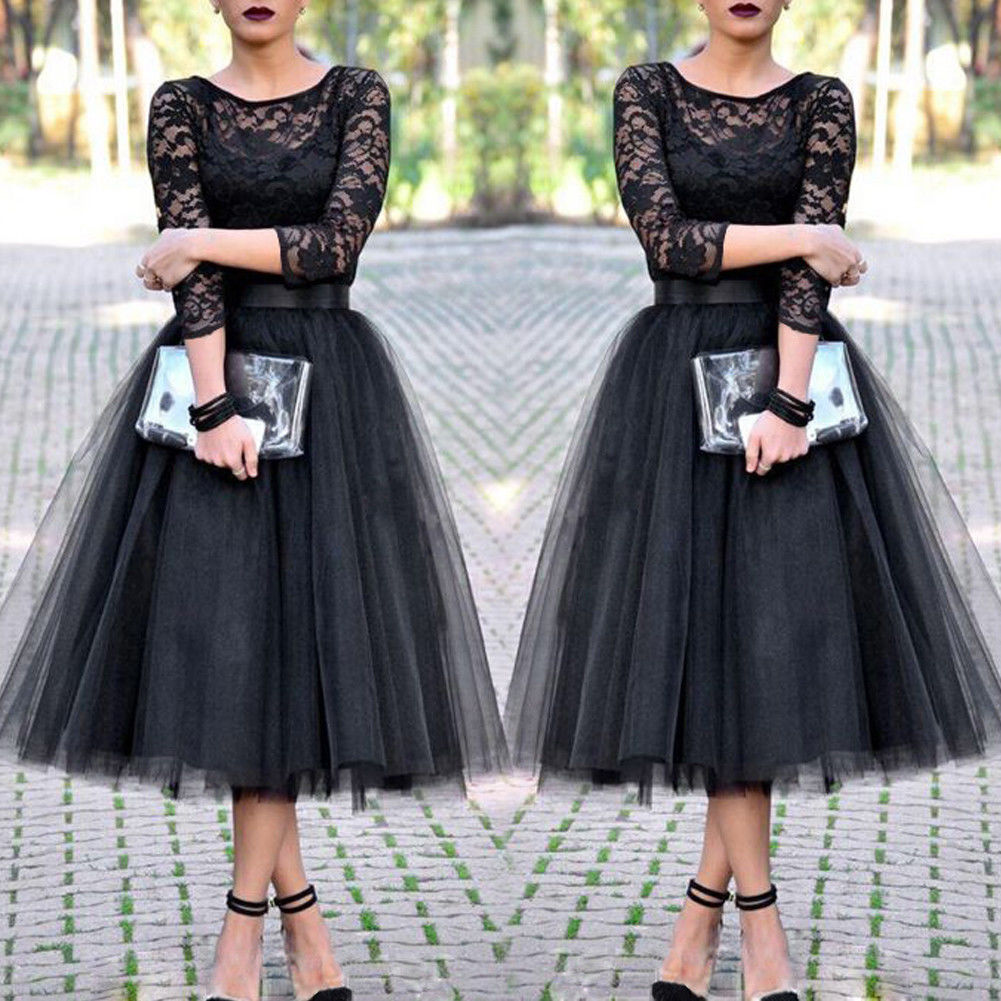 Women Sexy Formal Long Lace Evening Party Club Wear Dress Casual Dress Ball Grown Dress