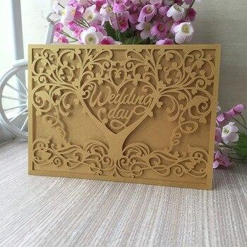 35pcs Love Tree Design Laser Cut Invitations Card Romantic Wedding Decorations Greeting Card Party Supplies